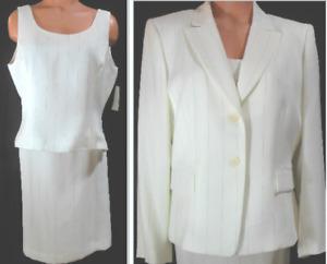 Tahari Skirt Suit 14P White w/Black 3 Piece Pin Stripe Lined Straight Skirt NWT