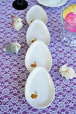 POTTERY BARN MINI WHITE EGG PLATES (FOUR) – NEW – EGGS-TRA SPECIAL FOR EASTER!