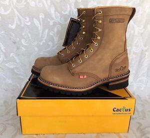 "Cactus Men LT Brown 9"" Leather Logger Work Boots Oil Resistant 9219 Comfort Fit"