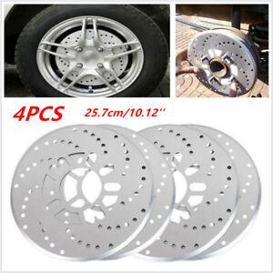 4 Pcs Silver Tone Aluminum Cross Drilled Car SUV Wheel Disc Brake Rotor Covers