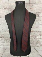 Polo By Ralph Lauren Mens Designer Necktie Cashmere Wool Burgundy Blue Tie GUC
