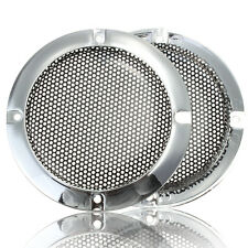 """2PCS 4"""" Inch Silver Circle Speaker Decorative Circle With Protective Grille Mesh"""