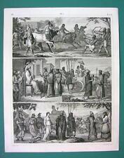 PEOPLE Costume Assyria Egypt Persia China Libya - 1844 Antique Print Engraving