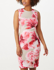 Calvin Klein Sheath Dress Plus Size 16W Sleeveless Floral Pink Roses