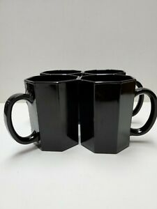 Vintage Arcoroc France Black Glass Octagon OCTIME Coffee Mugs Cups MCM Set Of 4
