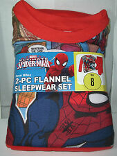 New Boys SPIDERMAN 2 piece Soft Flannel Pajamas Sleepwear Set Size 8 speech bubb