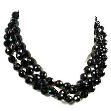 Vintage Black Glass Faceted Beaded Necklace - Opera Length - Unsigned - C.1950's