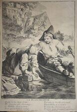 """Eau Forte, par M. THEVENARD, """"La Blanchisseuse"""", d'ap. COCHIN, XVIIIème"""