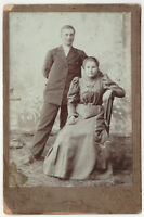 1910s Pretty Family Man & Woman in Studio Old Fashion Russian antique photo