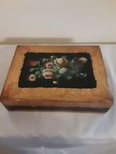 Large Florentine Wood Toleware Trinket Box Hand Painted Multicolor Flower Italy