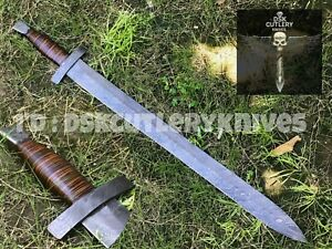 BEAUTIFUL CUSTOM HAND MADE DAMASCUS STEEL HUNTING SWORD HANDLE LEATHER WRAPPED