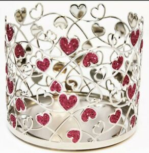 Bath Body Works Sparkly Silver Pink Heart Valentine Large Candle Holder Sleeve