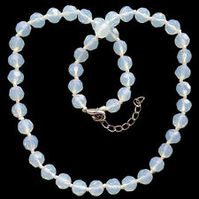 "10MM Fashion Faceted Opal Opalite Round Beads Adjustable necklace 18""AAA"