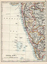 Map Of India SW Mangalore Bombay W & AK Johnston 1902 Original Antique