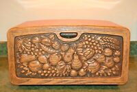 Burlington Crafts Metal Bread Box Ombre Fade Orange Faux Wood Front Made in USA