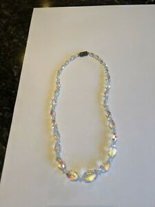 VINTAGE Clear Crystal Aurora Borealis Necklace - Single Strand 18""