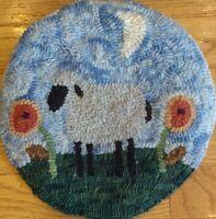 Beginner primitive rug hooking kit, hooked, sheep and posies, linen, wool