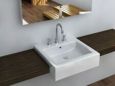 "Semi Recessed White China Bathroom Sink 19-5/8"" X 19-1/8"" X 5-1/2"". By Cantrio"