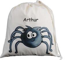 Personalised - Spider Design - Large Natural Cotton Drawstring Bag