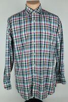 Peter Millar Mens Medium Multicolor Plaid Cotton Long Sleeve Button Up Shirt