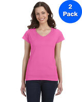 Gildan Womens 4.5 oz. SoftStyle Junior Fit V-Neck T-Shirt 2 Pack G64VL All Sizes