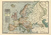 MP53 Vintage 1897 Historical Antique Old Map Of Europe Poster Print A1/A2/A3