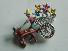 Adorable Tiny 1950's Vintage Enamel, Silver Tone & Marcasite Pony & Trap Brooch