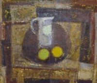 Karsten Winther (born 1934) Listed Danish artist. Still life with jug and fruit.
