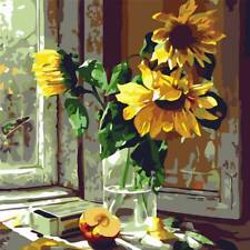 Paint By Number Kit DIY Window Sunflower Flower Digital Oil Painting On Canvas