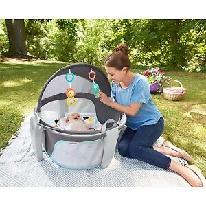 Fisher-Price Windmill On-the-Go Baby Dome, Baby Tummy Time Portable Playard