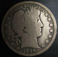 1896-O Barber Half Dollar - Good G Problem Free Original Semi Key Date