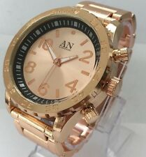 Mens Big Wrist Watch Rose Gold Metal Steel Strap Classic Luxury Casual Date New