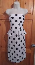 River Island white black polka dots peplum bandeau midi dress UK 14