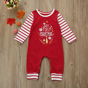 MY FIRST CHRISTMAS Baby Boy Girl Romper Jumpsuit Newborn Infant Outfits Clothes