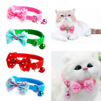Pet Bowknot Necktie Collar Cute Bow Tie Bell Kitten Puppy Adjustable Dog Cat FA