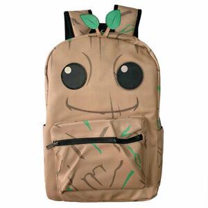 Cute Groot Backpack Schoolbag PU Leather Teenagers Knapsack Laptop Bag Gift