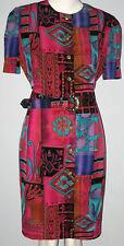 HBS LTD. Size 12P Multi-Color Button Down Short Sleeve Dress