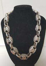 Vintage 1970's 46cm Modernist Ribbed Sterling Silver? Plated ? Necklace 71Grams