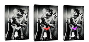Girl Drinking and Smoking in Loo Photo Picture in colors Print On Framed Canvas