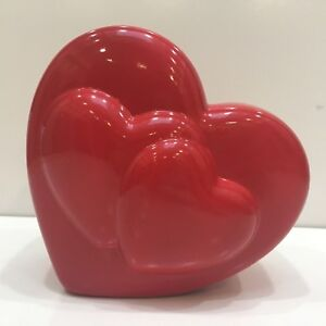 "Teleflora Red Heart Shaped Flower Vase Valentines 5.5"" Tall New"