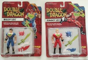 Tyco Double Dragon Lot of 2 Billy & Jimmy Lee Red Blue 1993 B Action Figure