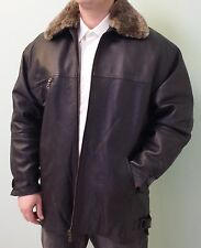 GENUINE LAMB LEATHER COAT JACKET SHEARLING REMOVABLE COLLAR & LINING, EU SIZE 38