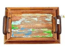 Set of 2 Nesting Serving Trays Rustic Solid Wood Vintage Distressed Style 19x12