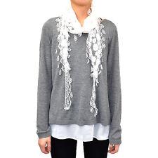 Lace Scarf Long Fishnet Fringe Tassel Sheer Tear Drop Polka Dot Embroidery