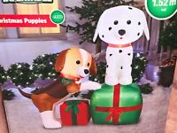 New 5' CHRISTMAS PUPPIES & GIFTS AIRBLOWN INFLATABLE Lights Up Gemmy LED Present