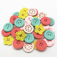 15 x Assorted Sizes Red Line Stripe Wooden Craft Buttons Sewing Needlecrafts