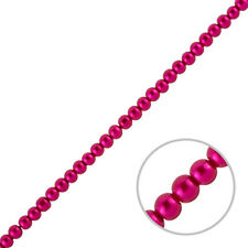 """4mm Glass Pearl Beads Round - Deep Pink (On 15"""" Strand) (J47/4)"""