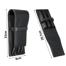 Luxury Black 3 Pens Leather Case Holder Pouch Bag Fountain Roller Storage Gift !