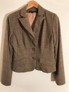 DAVID MEISTER wool brown, beige & burnt orange tweed check jacket UK 10 £495