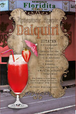 Daiquiri Cocktail Rezept Blechschild Schild gewölbt Metal Tin Sign 20 x 30 cm